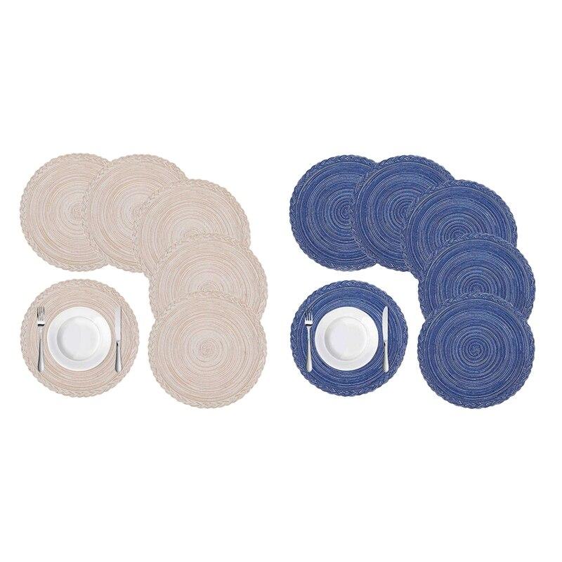 12 قطعة بساط منسوج دائري ، حفلات عشاء ، Bbqs ، حفلات الكريسماس والاستخدام اليومي ، 15 بوصة ، 6 قطعة بيج & 6 قطعة أزرق