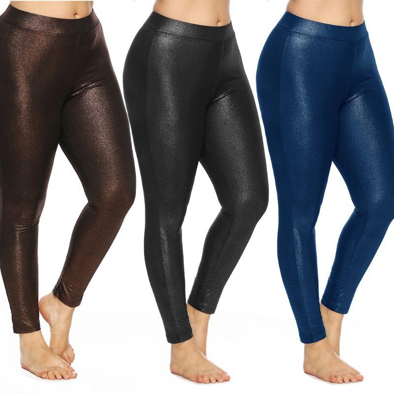 Leggings de talla grande y cintura alta para mujer, pantalones elásticos de Color sólido metálico brillante, mallas para fiesta de deporte y entrenamiento