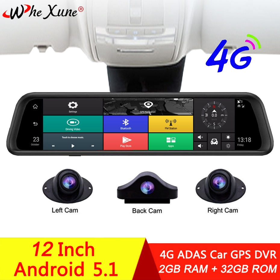 WHEXUNE12 Inch IPS 4 Channel 4G Android Dash Cam ADAS WIFI Car DVR Video Recorder Full HD 1080P Rearview Mirror GPS Navigation