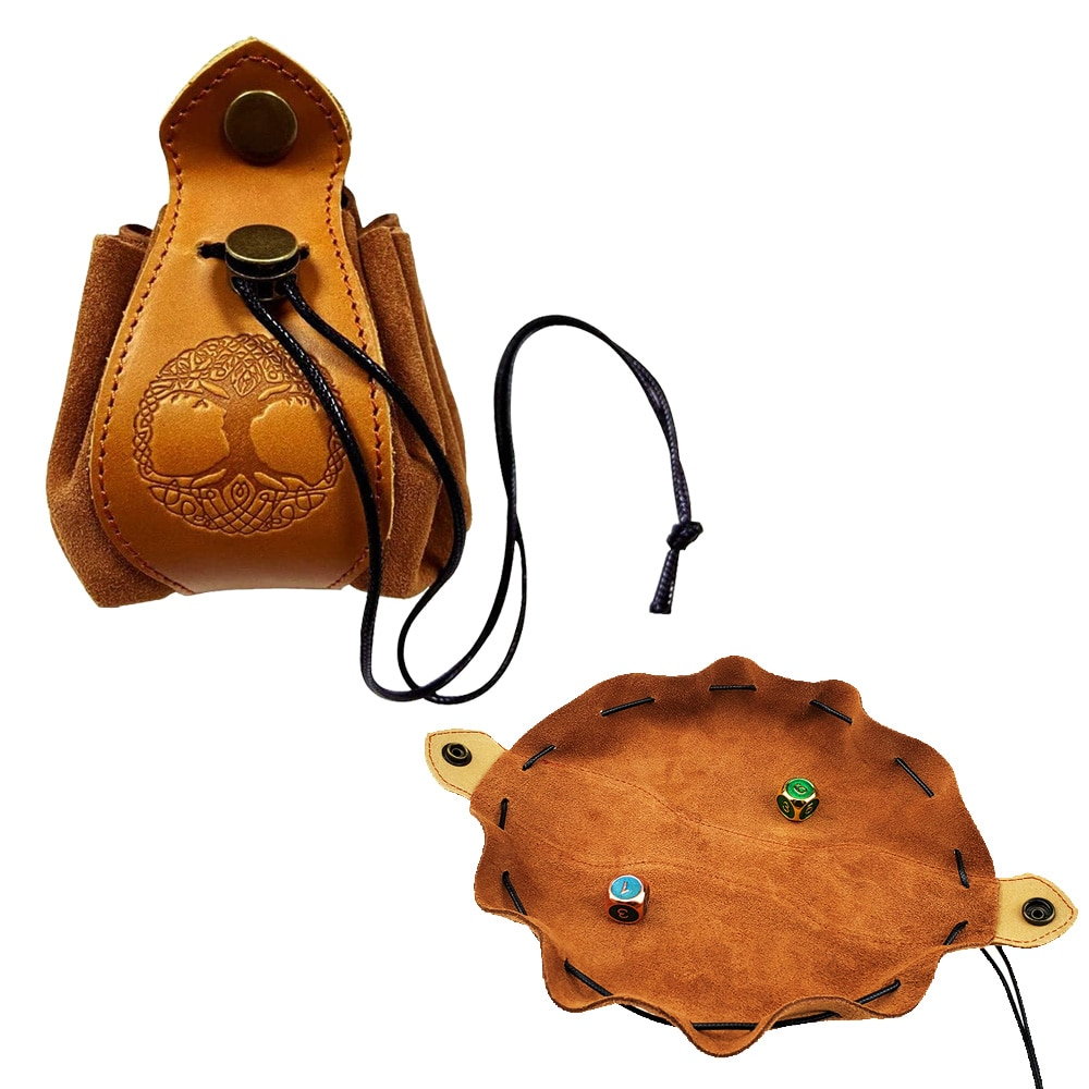 Portable Genuine Leather Drawstring Pouch Dice Bag Tray Custom for Polyhedral Cube Coin Slingshot DND D&D RPG Game Accessories