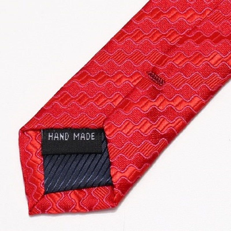 2020 Brand New Fashion High Quality Men 7CM Dark Wave Pattern Red Necktie Business Formal Suit Neck Tie for Men with Gift Box