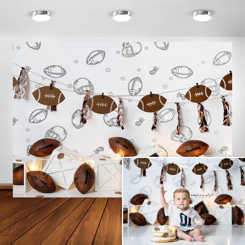 Fondo fotográfico para recién nacido de fútbol americano, decoración de fiesta de cumpleaños con temática de Rugby para bebés, Fondo para foto, retrato de estudio