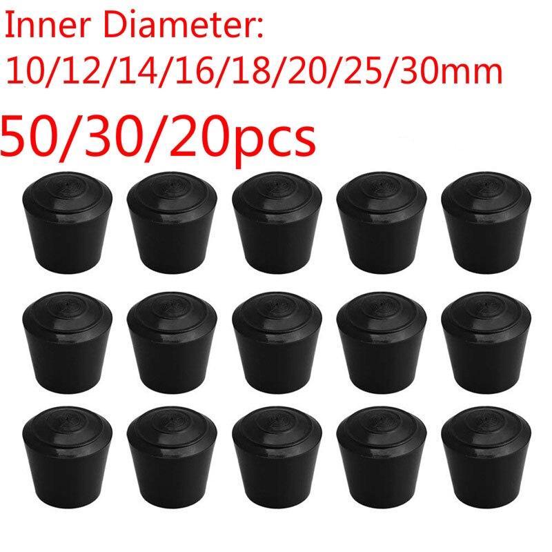 100/20pcs Black Round Furniture Legs10/12/14/16/18/20/25/30mm Inner Diameter Chair Table Feet Rubber Cover Floor Protectors Cap