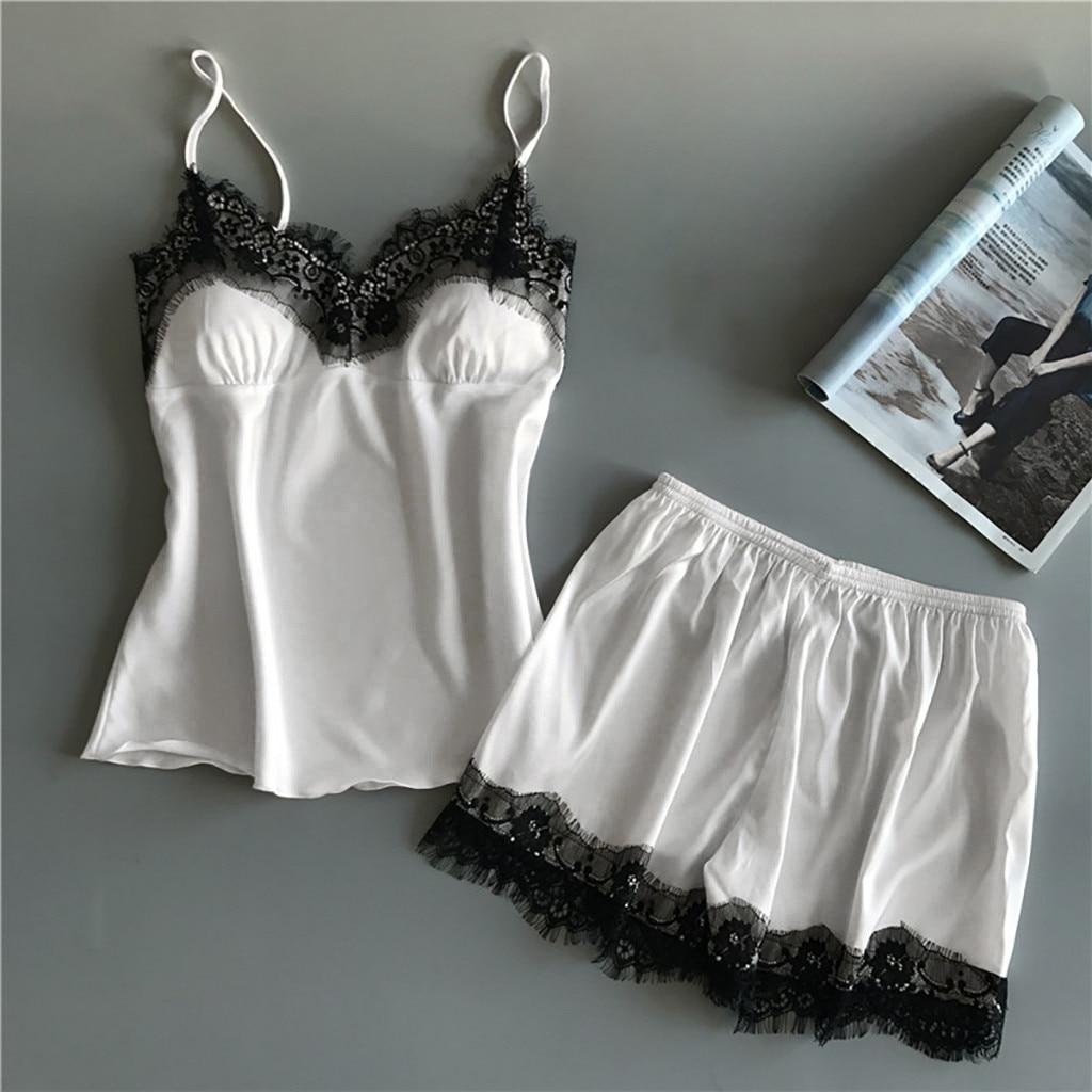 Women Robe Set Satin Sleepwear Pijama Silk Home Wear Lace Home Clothing Chest Pads Spaghetti Strap S