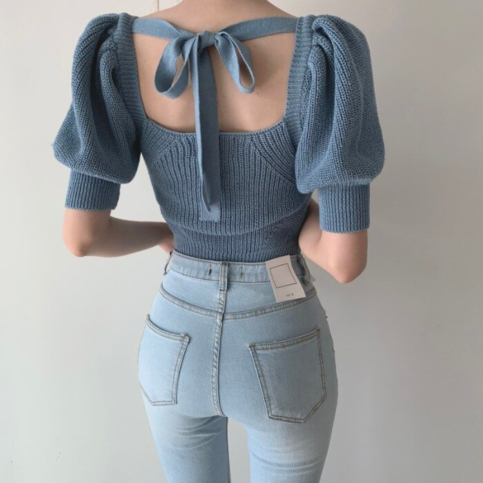 South Korea Vintage Sexy Square-Cut Collar Porous Backless Lace up Sneaky Design Slim Fit Puffed Sle