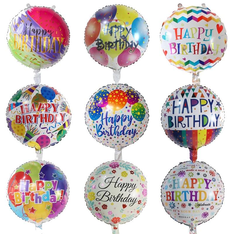 18inch Happy Birthday Balloons Round Foil Balloon Helium Globos 1St Birthday Party Decoration Kids B