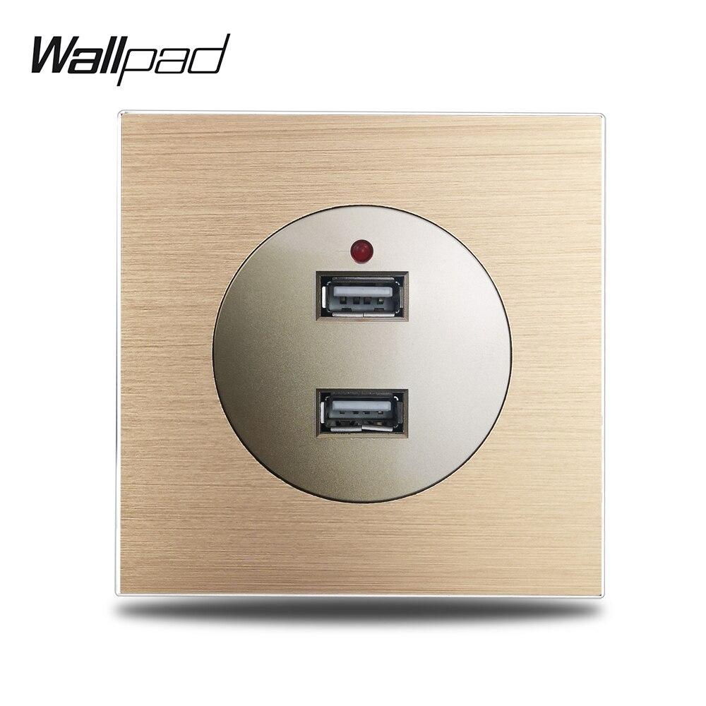 Wallpad-مقبس شحن USB مزدوج ، L6 ، ذهبي ، 2.4A ، لوحة معدنية من الألومنيوم المصقول