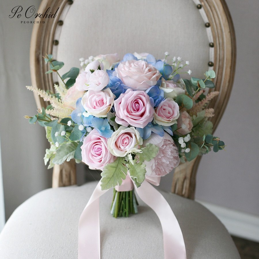 PEORCHID Pink Blue Bouquet Bridal flowers Wedding Bouquet Artificial Hydrangea Peony Rose Bride Holding Flower peorchid crystal feathers handmade wedding bouquet luxury blue bridal brooch bouquet european diamond crown flowers bouquet