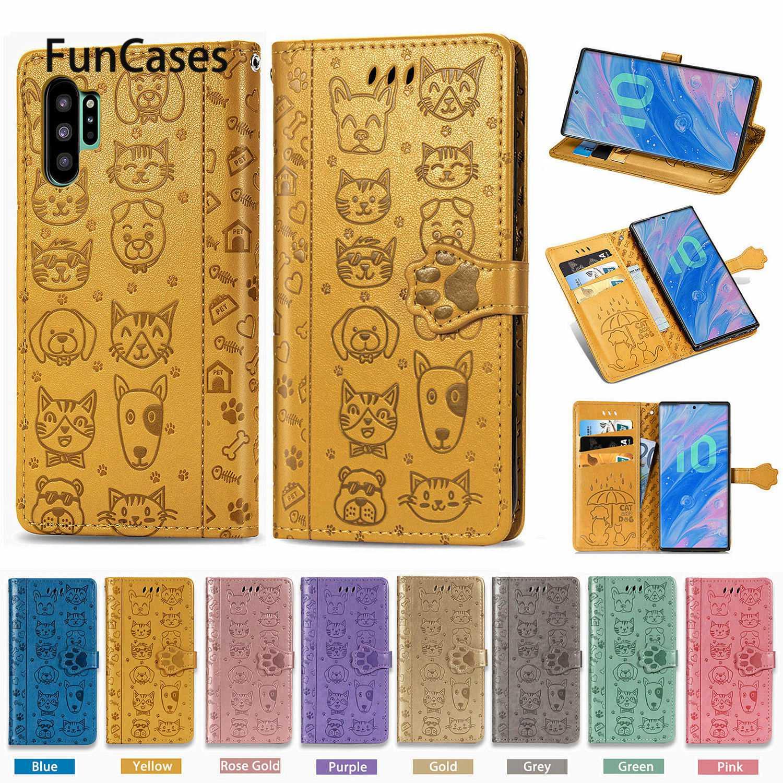 Cute Kitten PU Leather Flip Phone Bag For Samsung Note 10 Cellular Cover Carcasa Samsung Galaxy estuche Note 10 Pro Lite M31 A81