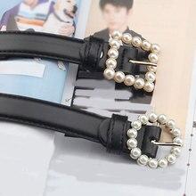 2020 PU Leather Belt Women Square Buckle Pearls Pin Buckle Jeans Black Belt Chic Luxury Ladies Vinta