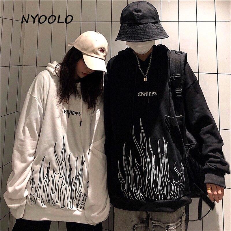 Nyoolo vintage chama letras bordado hoodies outono streetwear solto topo pullovers moletom com capuz feminino outerwear