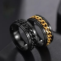 cool stainless steel rotatable men ring high quality spinner chain punk women jewelry for party gift mens ring boho steel ring