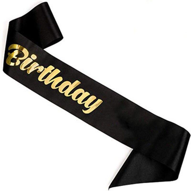 Fajín de satén elegante para cumpleaños, 1 Uds., faja de Reina para niñas, decoraciones para fiesta de cumpleaños, suministros de Ideas de una sola capa, bronceado