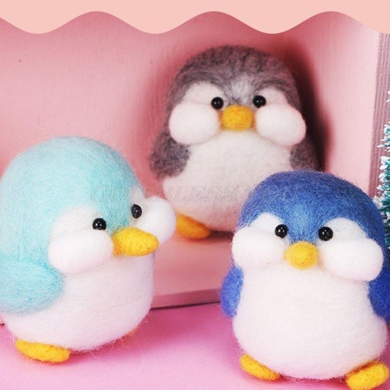 Pingüino de lana manualidad de fieltro DIY inacabado pinchado Kit para manualidades bolsa de Material clave anillo envío de la gota