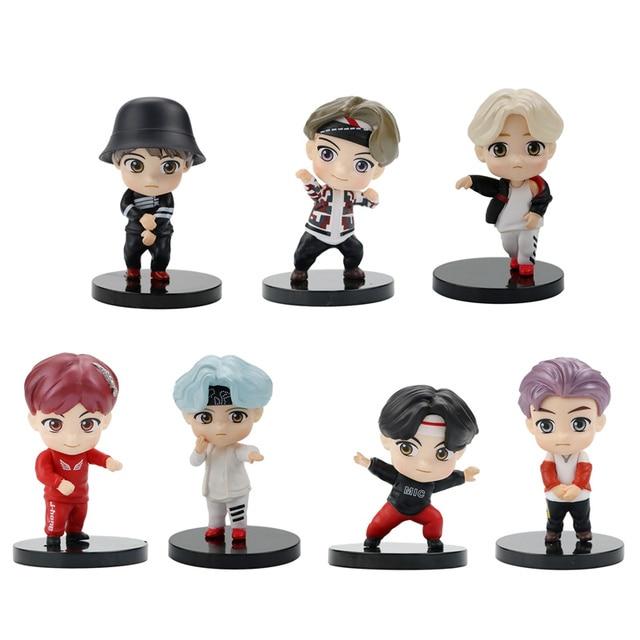 HOT 7pcs/lot 4G 5G 6G 7G TINY TAN Action Figure Bangtan Boys Toys Group Model KPOP Star TOP Funs A.R.M.Y PVC Birthday Gifts