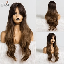 EASIHAIR-Peluca de cabello sintético ondulado para mujer, cabellera artificial largo con flequillo, color rubio degradado, resistente al calor, para Cosplay, uso diario