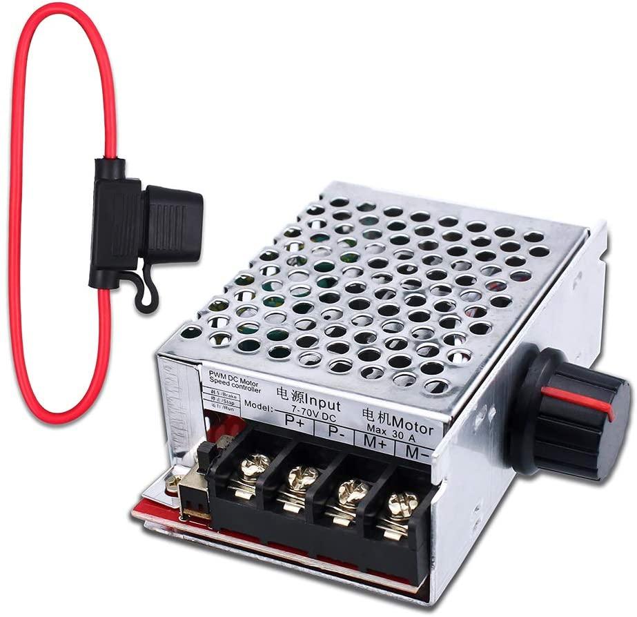 dc12v 48v wireless remote control switches wide voltage 30a relay dc 12v 24v 36v 48v receiver and digital remote controller 3key 7-70V 30A PWM DC Motor Speed Controller Switch Control 12V 24V 36V 48V with 30 Amp Fuse