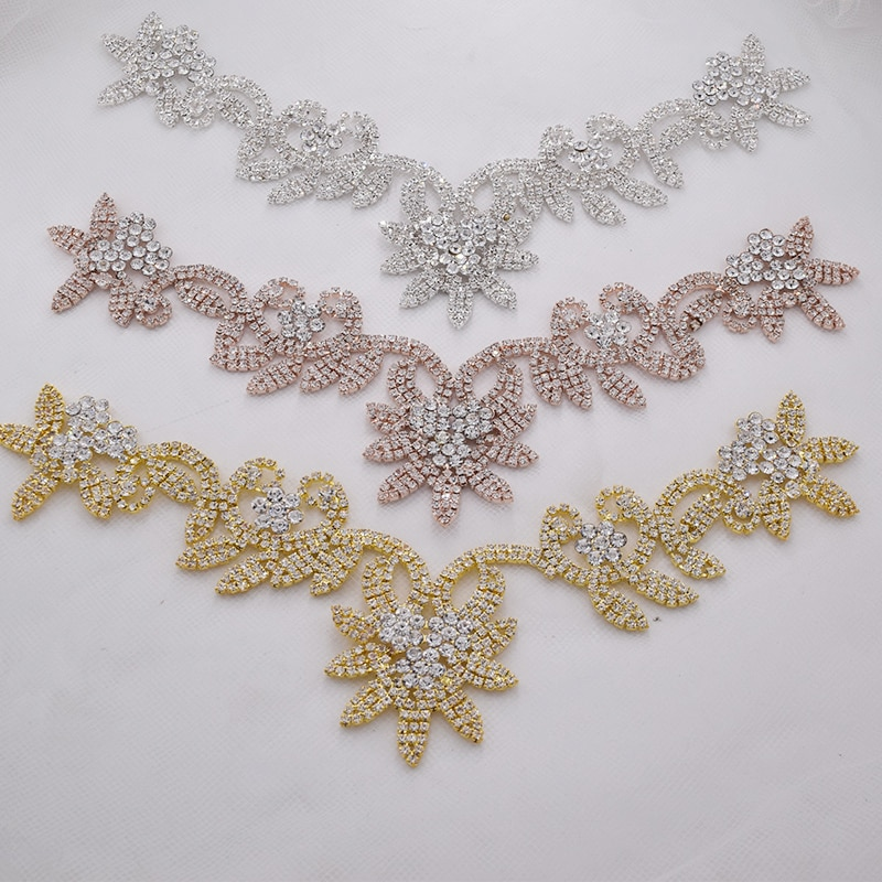 1 pieza flor cristal collar strass cosido collar adorno para vestido de novia falda parpadeante accesorios de ropa