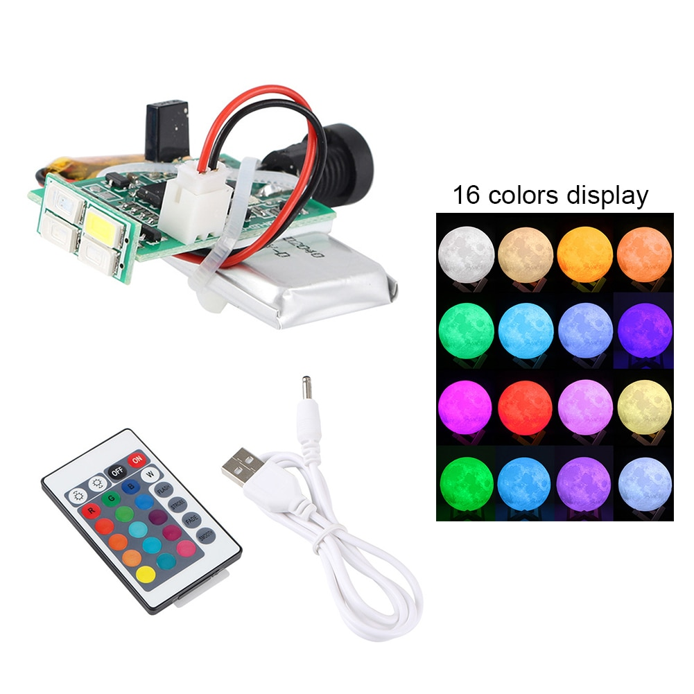 LED Moon Lamp Board Remote Control Light Source Night 3D Printer Parts 16 Colors #734