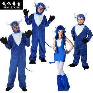 Adult Cow Cosplay Costumes New Arrival Funny Cow Jumpsuit for Carnival Party Using Blue buffalo Pajamas Kids Fancy Dress