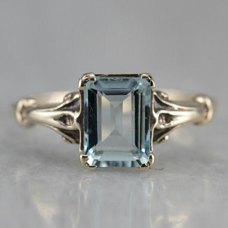 Vintage 14K oro mar azul Topacio anillo elegante boda banda joyería promesa anillos de compromiso para las mujeres Accesorios