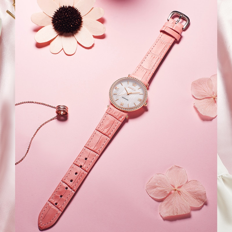 Amica Watches for Women Simple Vintage Small Dial Watch Sweet Leather Strap Outdoor Wrist Clock enlarge