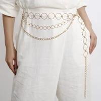 womens fashion circle metal chain belt golden ring waist chain clothes belt ladies buttocks new business accessories