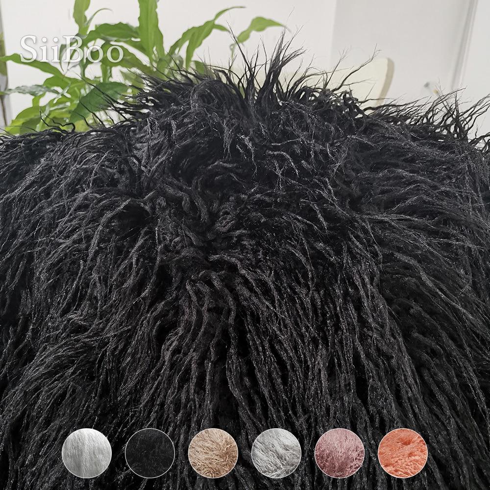 6 ألوان الصلبة 7 سنتيمتر طويلة كومة منفوش فو الفراء المنغولية النسيج الوليد الطفل التصوير الدعائم وهمية التبت الأغنام الفراء tissu SP5377