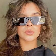 Fashion Small Rectangle Sunglasses Women Vintage Designer Clear Tea Blue Eyewear Trending Men Sun Gl