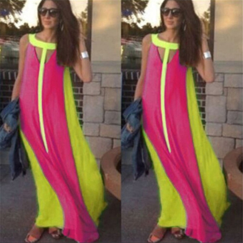 Celmia Bohemian Sundress mujer Sexy sin mangas Maxi Vestido largo 2020 verano Casual hueco señoras Chiffon fiesta Vestido Robe Mujer