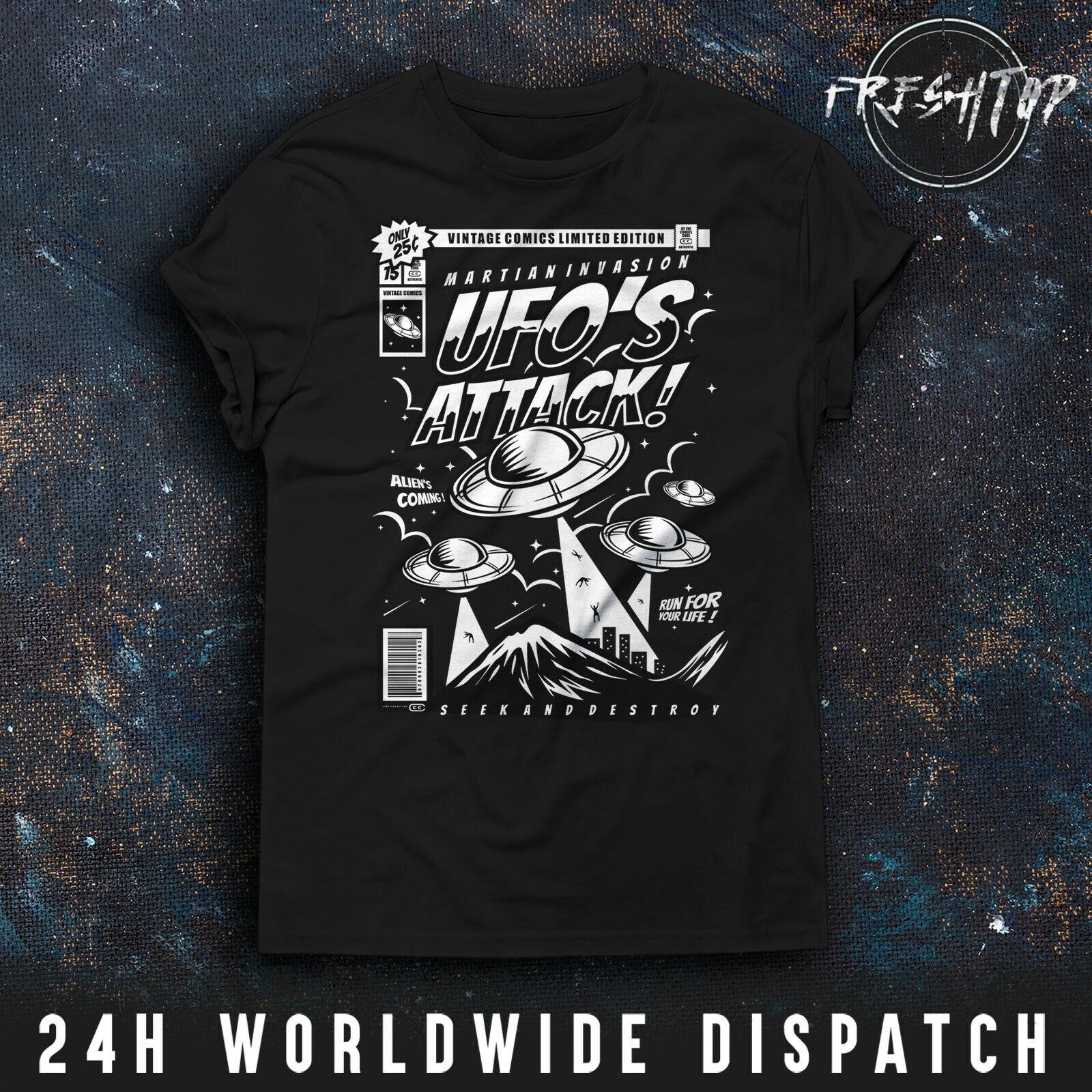 Ufo Attack T Shirt Mars Vintage Comics Area 51 X Files Mufon Ancient Aliens