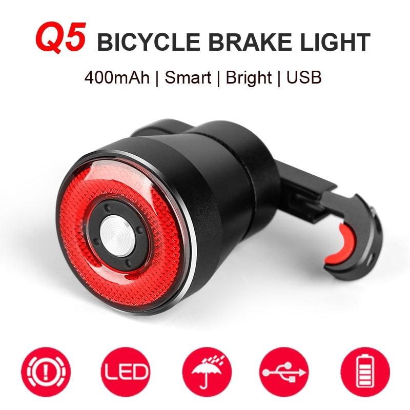 NEWBOLER Q5 Luz Traseira Do Freio Da Bicicleta Inteligente Luz de Detecção Automática À Prova de Chuva LED Ciclismo Lanterna Traseira Recarregável Bicicleta de Estrada Luz Traseira