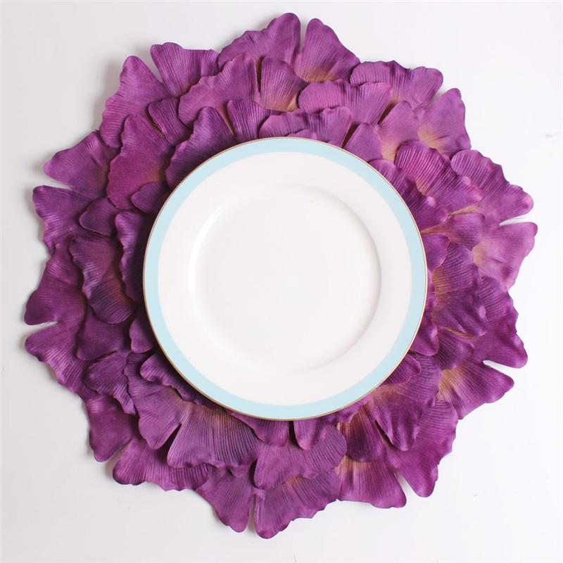 Fuwatacchi púrpura Ginkgo mosaico flores mantel de forma Irregular mantel para boda Decoración de cocina posavasos accesorios de comedor