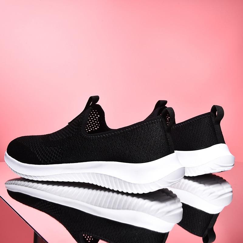 Damyuan 2020 New Fashion Sock Sneakers Flat Shoes Women Shoes Slip on Platform Sneakers Women Casual Black Breathable Mesh Sock