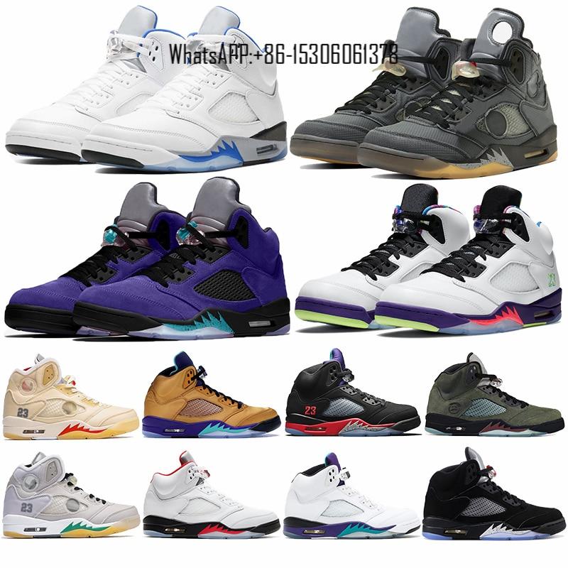 5 5s mens basketball shoes Jumpmans sail muslin alternate grape Hyper Royal sneaker top 3 Alternate Bel Fire Red Silver Tongue