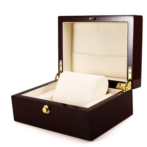 Large Size Wood Lacquered Glossy Single Watch Box with PU Leather Cushion