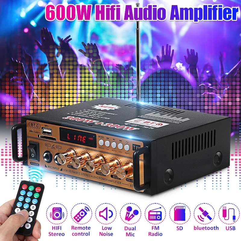 AMPLIFICADOR DE Audio estéreo Hifi de 2 canales, 300W + 300W, bluetooth,...
