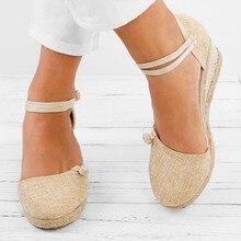 Frauen Damen Stroh Hanf Seil Sandalen Retro Leinen Leinwand Keil Runde Kappe Casual Sandalen Singles Schuhe Elegante Closed Toe Sandale