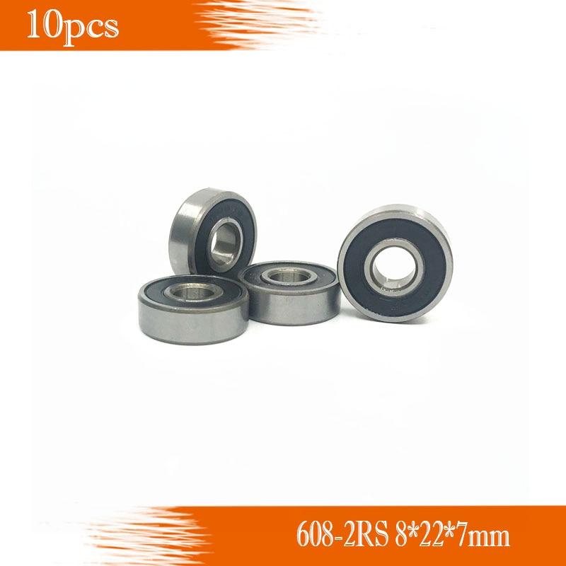 608 RS 10 piezas 608-2RS 8*22*7mm Skateboard 608 2RS rodamientos de bolas en miniatura 608-2RS teniendo 608RS 8X22X7mm