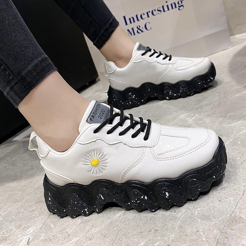 Zapatos casuales de colores combinados, zapatos vulcanizados con cordones, zapatillas gruesas, zapatos de mujer, zapatos planos con estampado de serpiente para mujer de talla grande 42