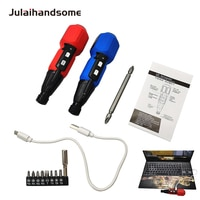 Mini 3.6V Cordless Screwdriver Manual and Auto USB Rechargeable Screwdriver High Brightness LED Shank 6.35mm Quick Release