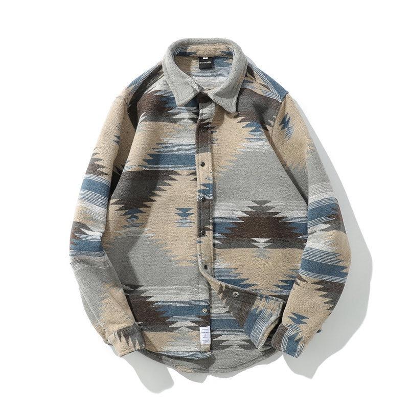 Laamei Mens Casual Button-Down Shirt Jacket Autumn Thin Coat Long Sleeve Vintage Japanese Ukiyo Geometry Patchwork