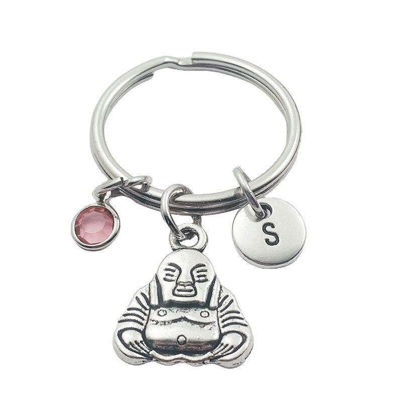 Nuevo Buda letra inicial vintage monograma llavero de piedra natal joyería creativa de moda para mujeres regalos accesorios colgante