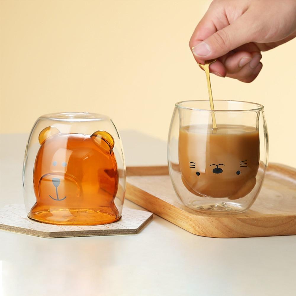 Criativo urso bonito copo de café dupla camada copos de chá garrafa térmica caneca de copo de vidro caixa de leite animal bonito presente de natal copo para café
