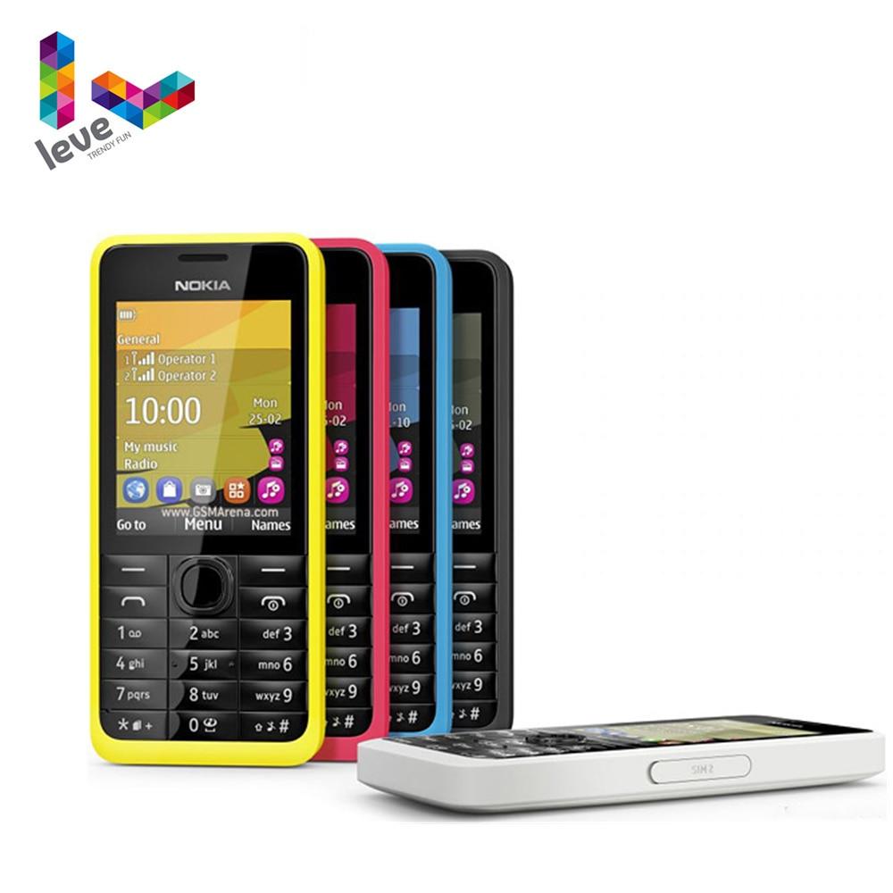 Original Nokia 301 Unlocked Mobile Phone with Hebrew WCDMA 3MP 2.4' Single&Dual Sim Card Refurbished