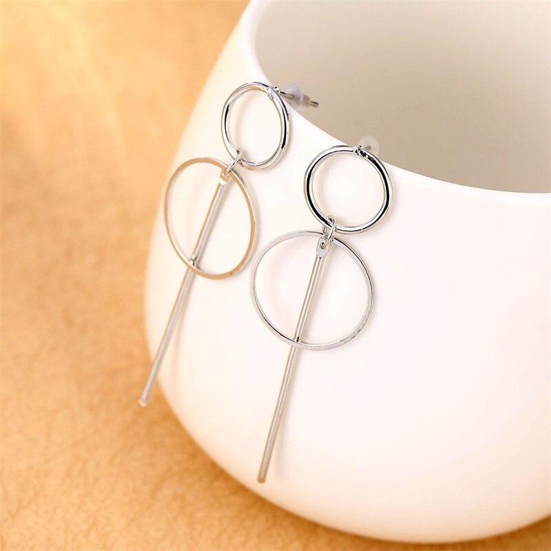 Oro nuevo pendientes con flecos metálicos para las mujeres pendientes largos del pendiente del círculo pendientes de moda doble círculo redondo joyería