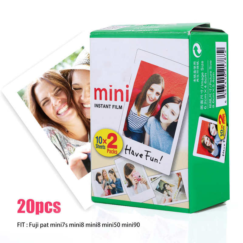 Película para cámara Polaroid, borde blanco, 20 hojas, para Fuji Mini 8/7s/25/50/90