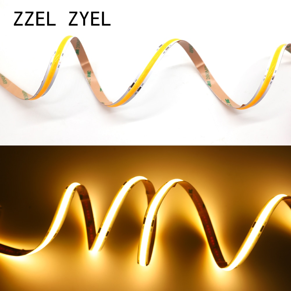 ZZEL ZYEL Hohe Dichte Flexible cob led streifen licht 12watt/M DC12V 24V RGB UV 395 Weiß/Warm Weiß/Gelb/Rot/Blau/Grün 0,5 m-5M