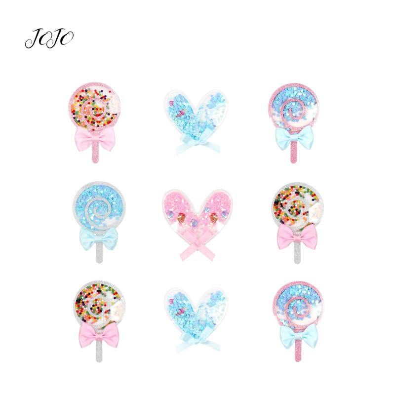 JOJO moños 1pc parches de resina Planar para ropa arco corazón amor Lollipop accesorios para manualidades DIY lazos para el cabello decoración