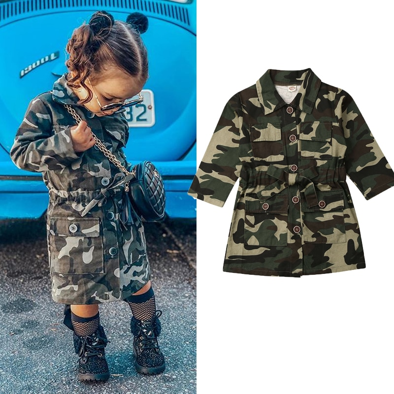 От 1 до 6 лет детей ясельного возраста куртка для девочек с длинными рукавами; Тренч с лацканами Повседневное с камуфляжным принтом; Куртка Верхняя одежда для детей